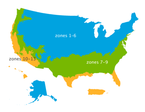 Planting zones for the United States